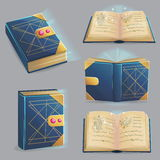 Magic book with spells in different positions. Stock Image
