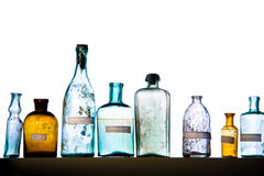 Magic bottles. Empty magic bottles on white background Royalty Free Stock Image