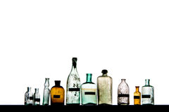 Magic bottles. Empty magic bottles on white background royalty free stock photo