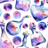 Alchemical magic bottle pattern stock illustration