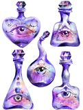 Magic bottles with all seeing eyes. Set, alchemical equipment, white background, hand drawn watercolor painting stock illustration