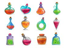 Free Magic Bottles With Potion Set On White Background Stock Photos - 185259813