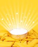 Magic bowl. On red velvet cloth Stock Photos