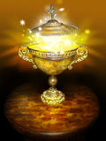 Magic bowl. A tortoise shell colored bowl with handles on a wooden table with magic light and stars bursting off the lid.  Concept for the unknown or future Stock Image