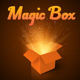 Magic Box with Confetti and Magic Light. Realistic Magic Open Bo Stock Photography