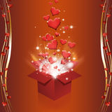 Magic Box with Hearts. Red glitter hearts fly out off the magic box Royalty Free Stock Photo