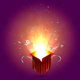 Magic box illustration. Magic box on purple background with sparks. Gift red box. Christmas lights. Vector illustration Royalty Free Stock Photos