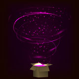 Magic box. Magic box with tornado fireworks. Magic box with circular plasma explosion. Magic box with sparkles. Box full of pink magic. Spell from magic box vector illustration