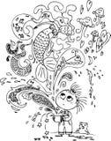 Magic box with mermaid. Cute little girl opening a magic box with a mermaid. Coloring vector illustration Royalty Free Stock Photo