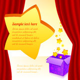 Magic box with stars behind red curtain Stock Photo