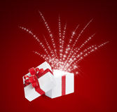 Magic box. White on red background Royalty Free Stock Images