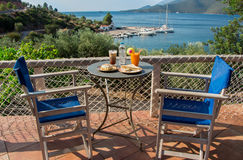 Magic breakfast during a sea vacation. Royalty Free Stock Photos