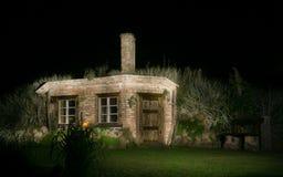 Magic brick hut at night stock photos