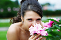 Magic bride and pink peony Stock Images