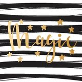 Magic. Bright Gold lettering. Stars. Golden letters on a striped background. Stock Images