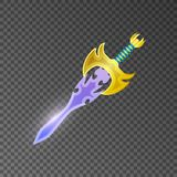 Magic broadsword isolated game element. Shiny medieval weapon for computer game design. Fight decoration, fantasy battle object vector illustration Stock Images