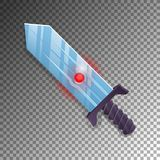 Magic broadsword isolated game element. Medieval weapon for computer game design. Fantasy battle sign vector illustration Royalty Free Stock Images