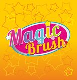 Magic brush absrtaction yellow. Stars Royalty Free Stock Image