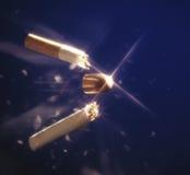 Magic bullet hitting cigarette. Breaking smoking habit Royalty Free Stock Photos