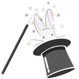 Magic bunny vector. A rabbit in a hat and magic wand  illustration isolated + vector eps file Royalty Free Stock Photography