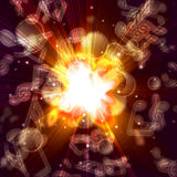 Magic burst with stars and music notes Stock Photos