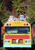 Magic Bus. Old school bus converted into living space Stock Image