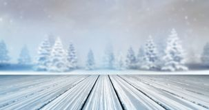 Magic calm winter forest with wooden deck front at daylight royalty free stock photography