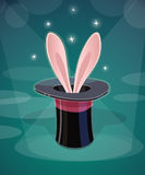 Magic cap and rabbits ear Royalty Free Stock Images