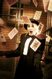 Magic Cards Trick. Casino Gaming Cards Free Fall From The Hands Of A Magician In A Magic Cards Trick Stock Images