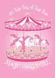 Magic Carousel. Vector illustration of a pink horse carousel Royalty Free Stock Photo