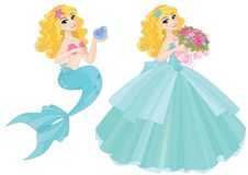 Magic Cartoon Fairy Cute Princess  Mermaid royalty free illustration