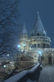 Magic Castle. The real location of this place is Budapest, capital of Hungary and the bulding is the so called Fishermen's Bastion Stock Photo