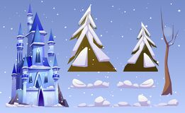 Free Magic Castle And Winter Landscape Elements Royalty Free Stock Photo - 210083395
