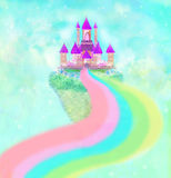 Magic Castle in clouds. Magic Fairy Tale Castle in clouds Royalty Free Stock Image