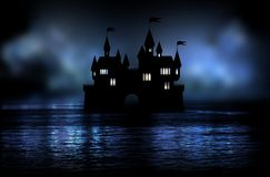 Magic castle night in the middle of the lake Royalty Free Stock Images