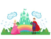 Magic castle and princess with prince Royalty Free Stock Photos