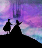 Magic castle and princess with prince stock illustration
