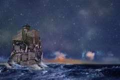 Castle on the rock. Magic castle on a rock in the middle of a stormy sea against the starry sky and the dawn. Not 3D stock illustration