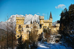 Magic castle in snowy alpine landscape. A charming castle in Austria by a snowy alpine landscape at a sunny winters day by a blue sky Stock Photography