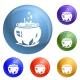Magic cauldron icons set vector royalty free illustration