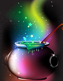 Magic cauldron with a potion. Cauldron  with a boiling magic potion on an abstract mystical background Royalty Free Stock Photo