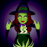 Magic Cauldron Witch Stock Photo