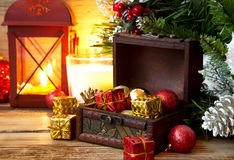 Magic Chest Full of Gifts, Christmas Setting Royalty Free Stock Photos