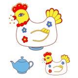 Magic chicken warmer for teapot Royalty Free Stock Photos