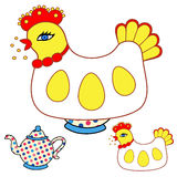 Magic chicken warmer for teapot Royalty Free Stock Photo
