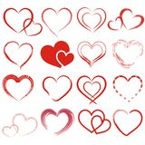 Set of 16 different hearts. Set of 16 different heart in red royalty free illustration