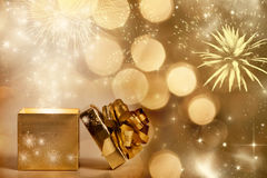 Magic Christmas background with gift box Royalty Free Stock Photos