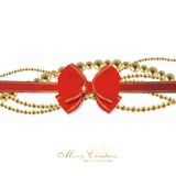 Magic christmas background. With golden balls and red ribbon Royalty Free Stock Photos