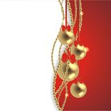 Magic christmas background. With golden balls and red ribbon Royalty Free Stock Image