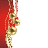 Magic christmas background. With golden balls and red ribbon Stock Photography